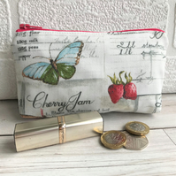 Large purse, coin purse with strawberries, blue butterfly and grey recipe script
