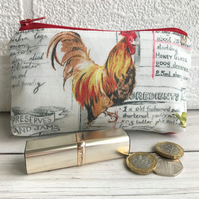 Large purse, coin purse with cockerel and grey recipe script
