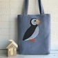 Puffin tote bag in blue with black and white checked and polka dot puffin