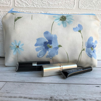 Floral make up bag, cosmetic bag with pastel blue flowers