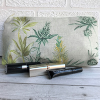 Summer meadow make up bag, cosmetic bag with seed heads and foliage