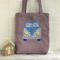 Campervan tote bag in lilac with floral and checked campervan