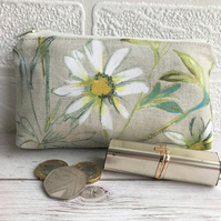 Large purse, coin purse with summer meadow daisy print