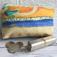 Large purse, coin purse with abstract pattern in tropical colours