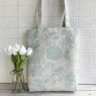 Birds and flowers tote bag in cream and duck-egg blue
