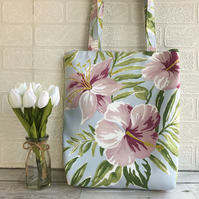 Tropical floral tote bag with pink flowers