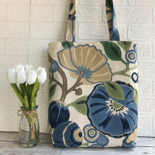 Floral tote bag with bold blue and beige flowers