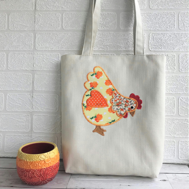Chicken tote bag in cream with yellow and orange floral and polka dot chicken