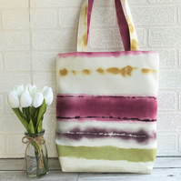 Striped and patterned tote bag in summer colours