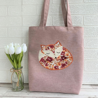 Sleepy fox tote bag in dusky pink lilac with floral sleeping fox