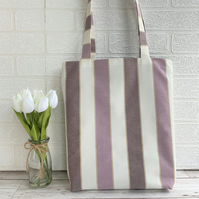 Striped tote bag in lilac, mauve and cream