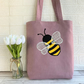 Bumble bee tote bag in lilac with polka dot bumble bee