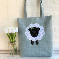 Sheep tote bag in duck egg blue with floral sheep