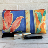 SALE, Tropical make up bag with red flower