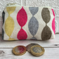 Small purse, coin purse with abstract wiggly stripes in bright colours