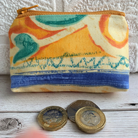 SALE, Small purse, coin purse with abstract pattern in tropical colours