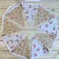 Shabby chic floral bunting in cream, white and pink