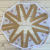 Shabby chic hessian and floral print bunting