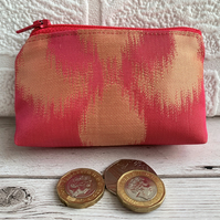 Hot pink small purse, coin purse with shiny gold abstract pattern