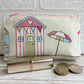 Large purse, coin purse with pastel beach hut and parasol