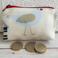 Small purse, coin purse with seagull print pattern