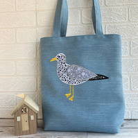 Seagull tote bag in blue with floral Seagull