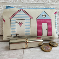 Large purse, coin purse with two blue and pink beach huts