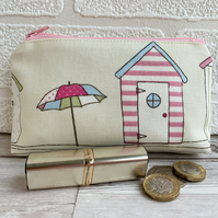 Large purse, coin purse with pastel striped beach hut and parasol