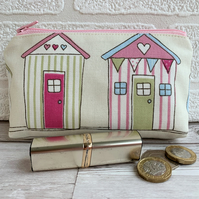 Large purse, coin purse with two pastel striped beach huts