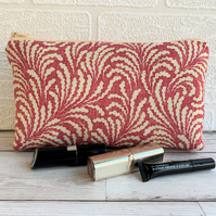 Magenta and cream abstract patterned make up bag or pencil case