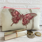 Large purse, coin purse with pink and magenta butterfly