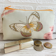 Large purse, coin purse with cream, yellow and pink butterfly