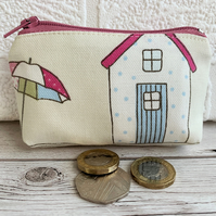 Small purse, coin purse with pastel polka dot beach hut and patterened parasol