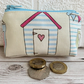 Small purse, coin purse with pastel striped beach hut