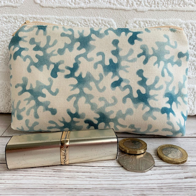 Large purse, coin purse with cream and blue abstract pattern
