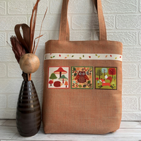Woodland tote bag with hedgehog, owl, fox and toadstools