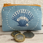 Small purse, coin purse with blue and white scallop seashell