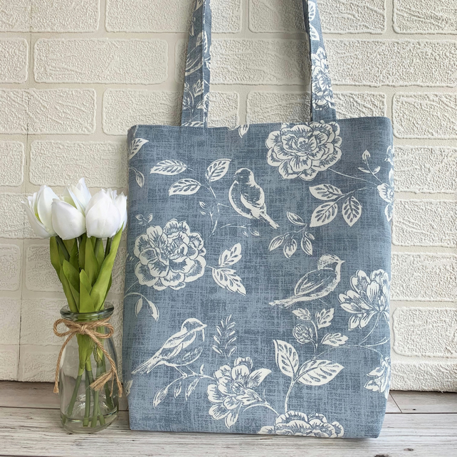 Birds and flowers tote bag in blue and white