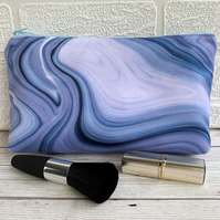 Make up bag or pencil case with blue marbled pattern
