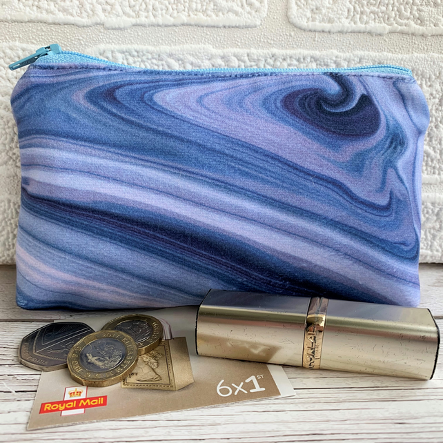 Large purse, coin purse with blue marbled pattern
