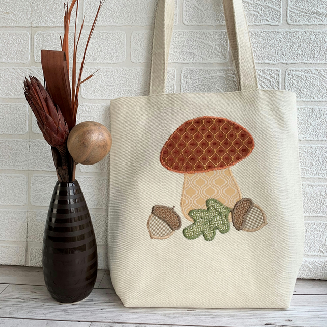 Autumn woodland tote bag with toadstool, acorns and oak leaf