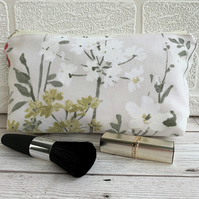Floral make up bag, cosmetic bag or pencil case in cottage garden print