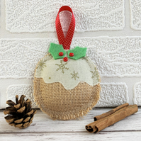 Hanging Christmas pudding rustic Christmas decoration