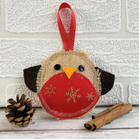 Rustic Christmas robin hanging decoration with red and gold snowflake print