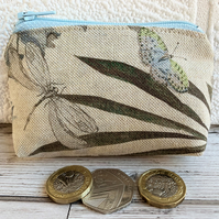 Small purse, coin purse with butterfly and dragonfly in muted colours