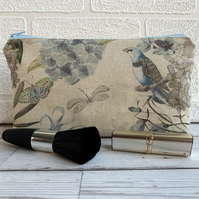 Make up bag with pastel bird, butterfly and dragonfly
