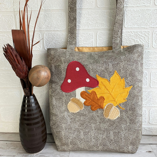 Autumn woodland tote bag with toadstool, acorns and leaves