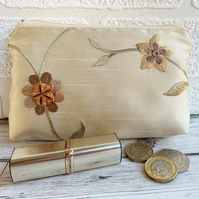 Large purse, coin purse in embroidered gold floral fabric