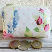 Small purse, coin purse in shabby chic floral fabric with lavender and rosebuds