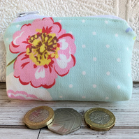 Small purse, coin purse in pale blue shabby chic fabric with a pink flower